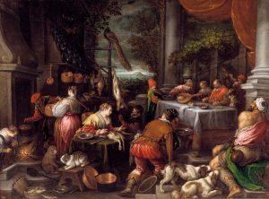 Museo del Prado, Lázaro y el rico Epulón Leandro Bassano, hacia 1570. Óleo sobre lienzo, 150 x 202 cm.