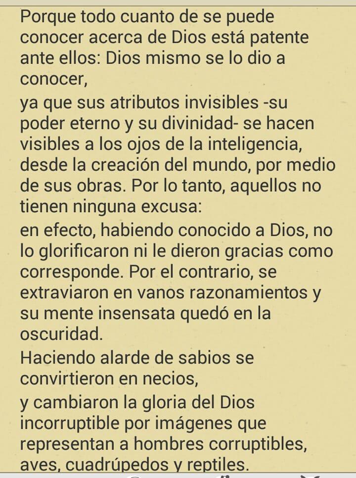El dogma de fe sobre el conocimiento racional de Dios, Romanos 1, 19-23.
