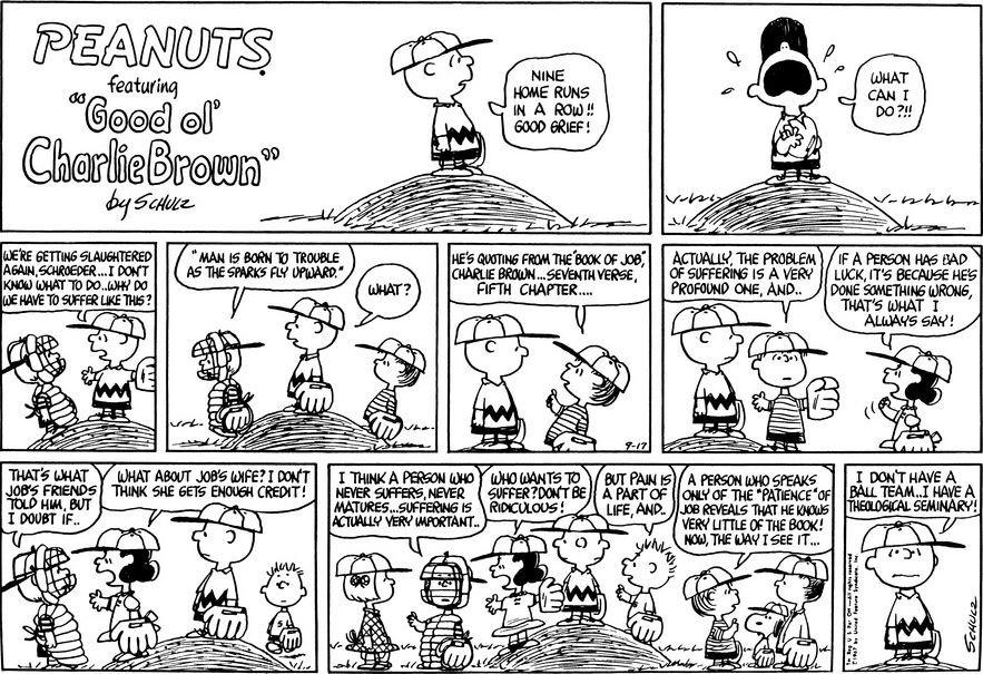 Tira de Snoopy sobre el libro de Job.