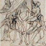 Alessandro Maganza (siglo XVI): Las dos Marías adorando el Santo Sudario con las huellas del cuerpo de Cristo. Copyright de la imagen ©Museo Nacional del Prado